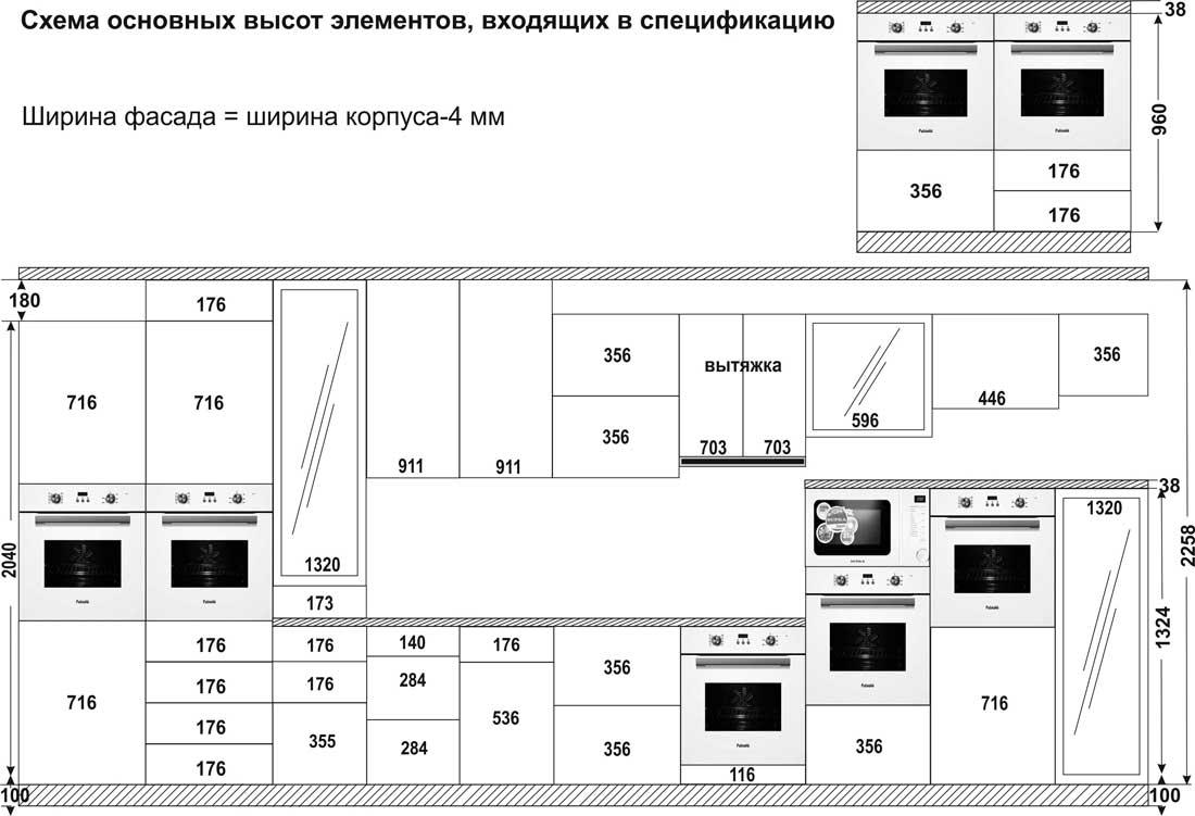 стандартные размеры фасадов для кухни таблица